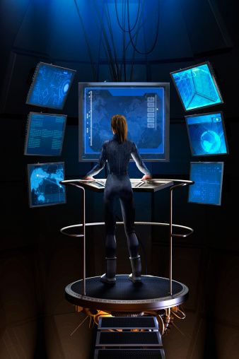 Stock-Illustration : Woman standing at control panel in futuristic control room