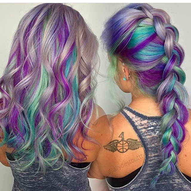 Gray purple blue and green hair