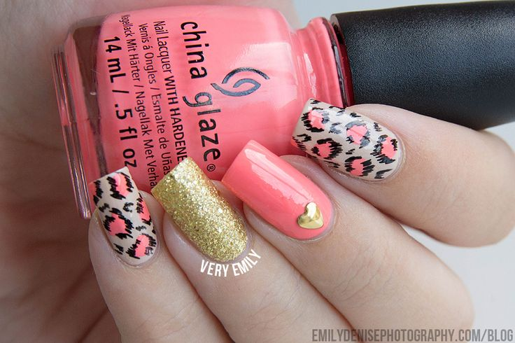 Neon/Nude Leopard Nails