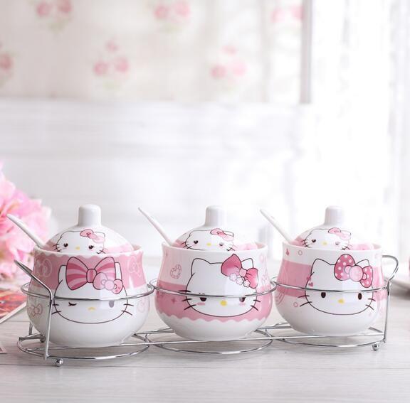 Kawaii Cartoon Keramische Hello Kitty Doraemon Suikerpot Thuis Keuken 3 In 1 Set Zout Kruiderij Pot Potten Met Kleine lepel