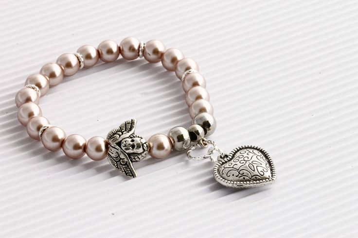 BNIB  Bracelet with Angel and Heart Charms, Valentines Gift Idea