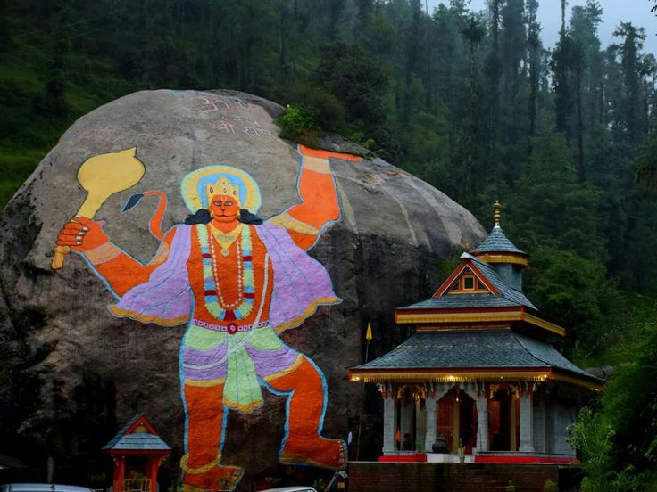 Image of Lord Hanuman Painted on a large Rock near Rohanda, Himachal