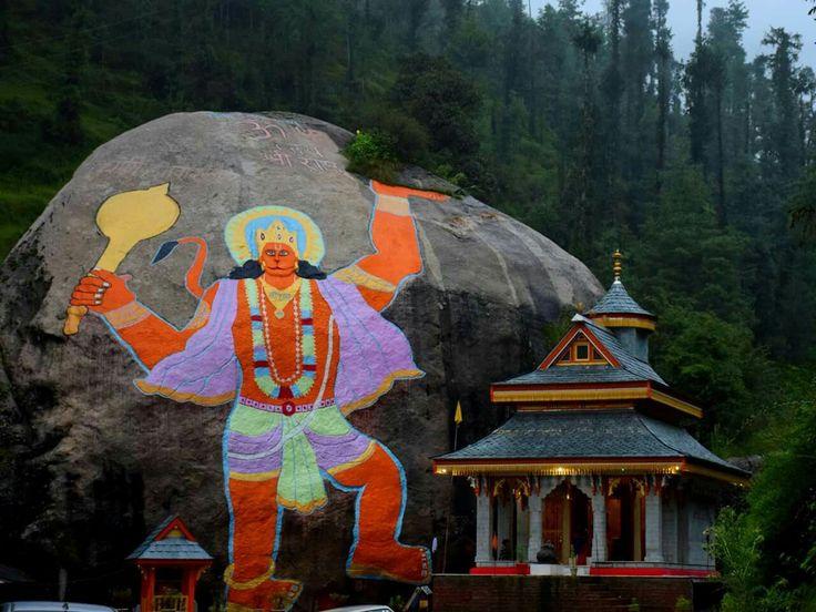 Image of Lord Hanuman Painted on a large Rock near Rohanda, Himachal