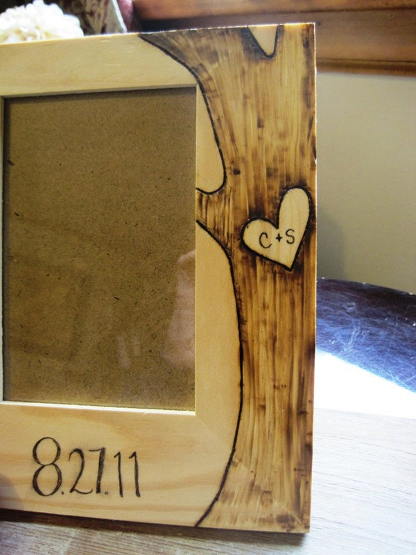 Custom Engraved Wood Picture Frame | Green Bride Guide