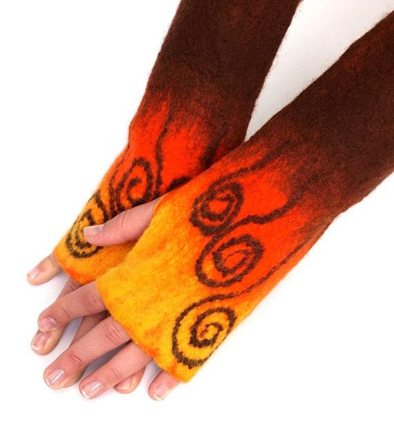 Fingerless gloves handfelted autumn colors by ArtMode on Etsy