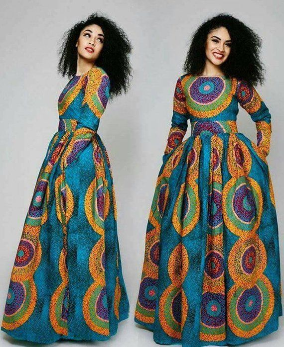 a4e2b99dd18 African maxi dress with two sides pockets