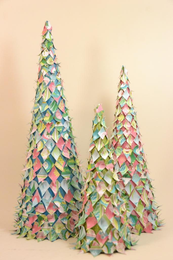 Paper mache cone scrap paper cut into diamonds some for Paper mache christmas