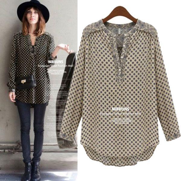 2014 spring hot new european loose plus size women blouses