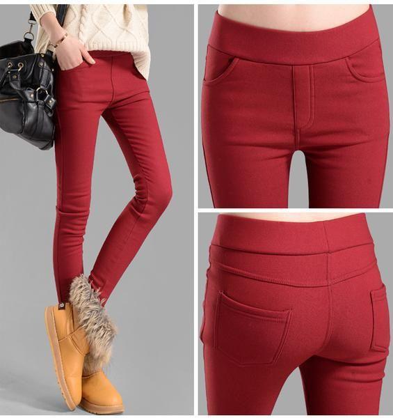 2016 women pencil pants fleece warm pants trousers elastic Jeans Autumn Winter velvet leggings