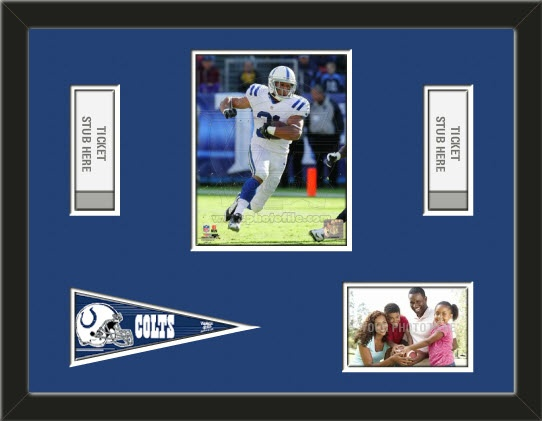 One framed 8 x 10 inch Indianapolis Colts photo of Donald Brown with a Indianapolis Colts mini pennant, and openings for 1 or 2 ticket stubs* and one 4 x 6 inch personal photo**, double matted in team colors to 24 x 18 inches.  (Pennant design may change)  $119.99 @ ArtandMore.com