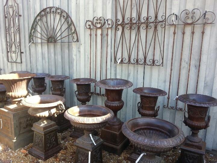 Urns and iron work at The Greenery, Huntsville, Alabama