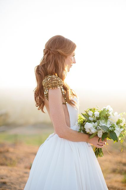 Backless and sequin capped sleeve wedding dress | bride Jessi wore her hair in romantic, half-pinned-back waves.