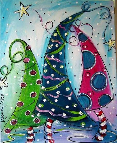 Funky Christmas ~~~ kids choose to use geometric or organic lines to draw/paint their Christmas trees - whimsical like dr seuss inspired whoville