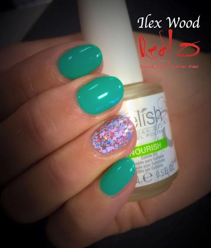 Bright Summer Nails. A Mint of Spring Gelish & Escar-go to France Gelish Nails. Green Nails, Glitter Nails.