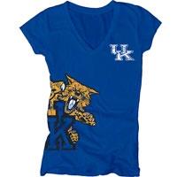 Kentucky Wildcats Women's Royal Cossett Mascot Deep V-Neck Tee