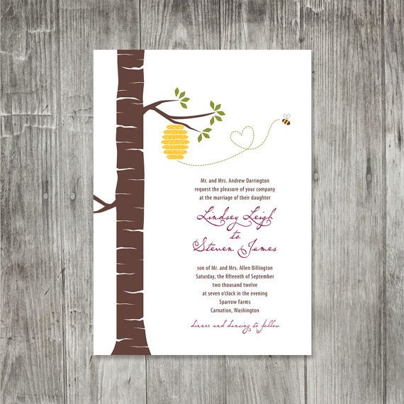 Another cute invite featuring a bee. I like bees.