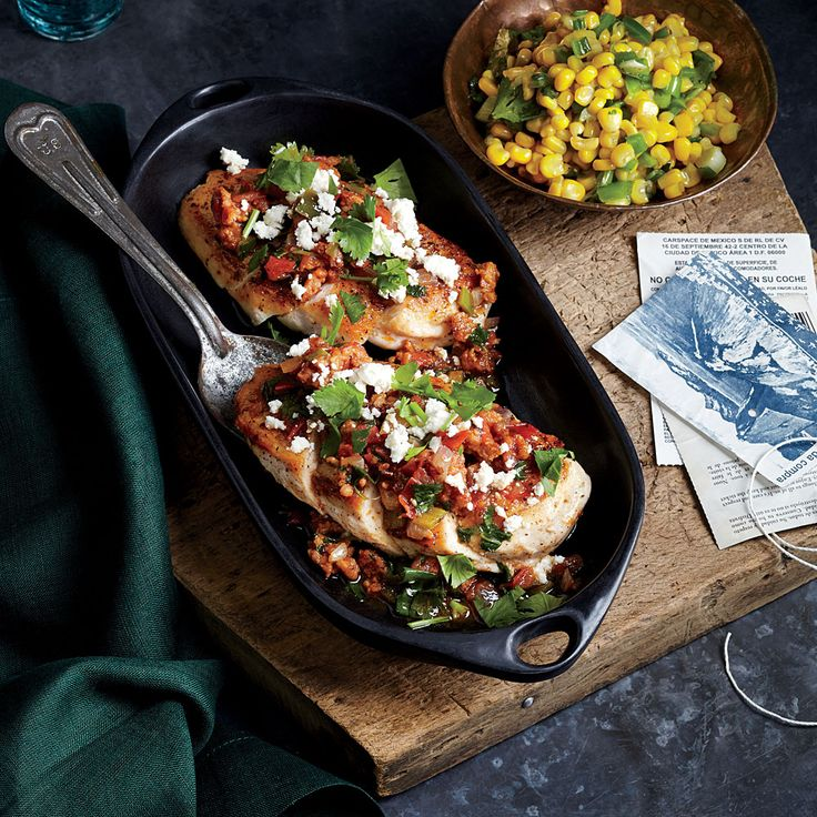 Mexican: Chicken with Chorizo and Tomato Salsa - 50 Healthy Chicken Breast Recipes - Cooking Light