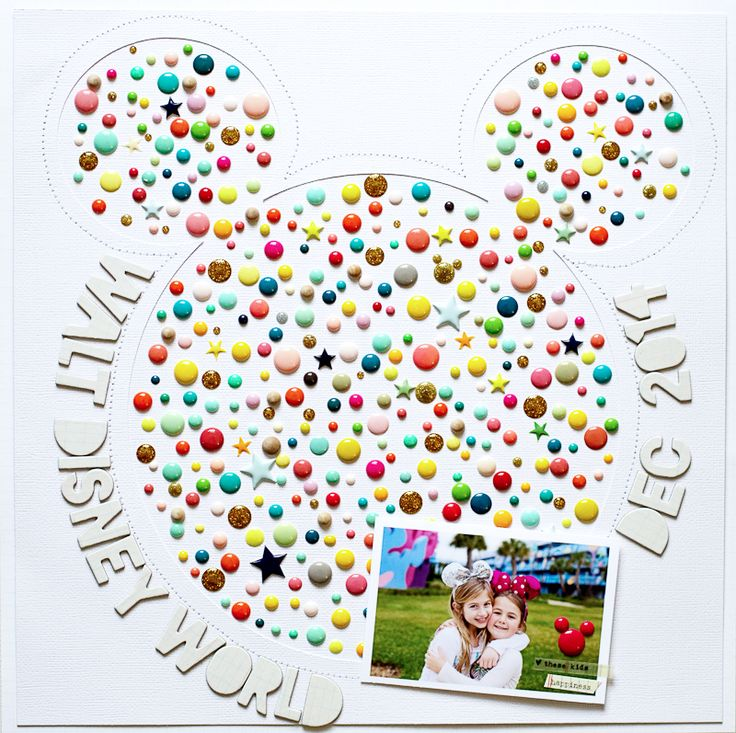 I would never use so many enamel dots on one layout. But I could use a paper punch some enamel dots added in.