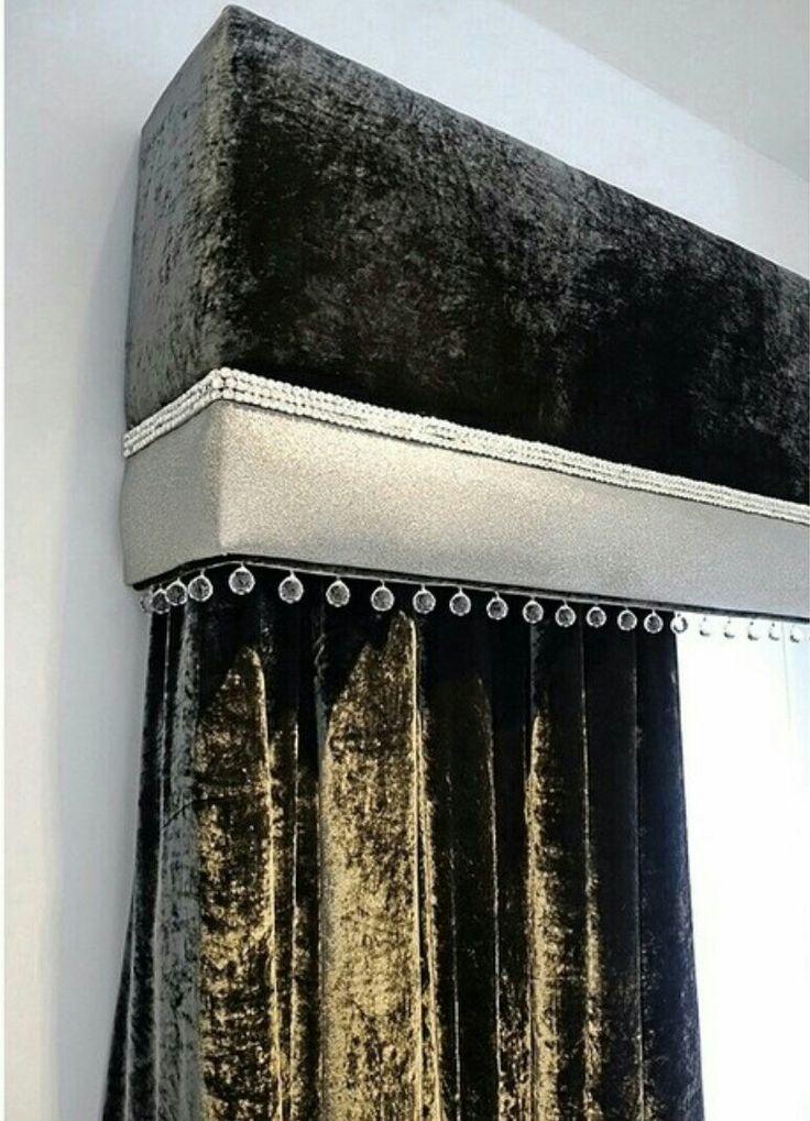 Very fancy velvet drapes and cornice board.