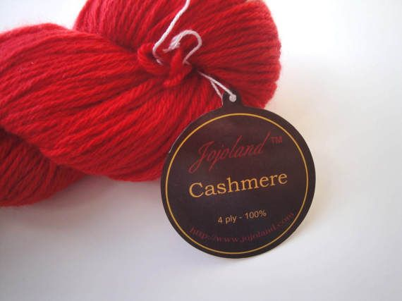 Red Cashmere Yarn 4 ply sport Weight  440 Yards Knitting