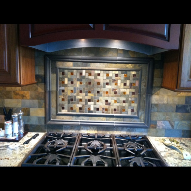 The backsplash behind my cooktop a beautiful slate subway and mosaic tile with a touch of glass - Stunning backsplash designs for behind ranges ...
