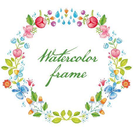 ghirlanda floreale Primavera acquarello clip art di DottyCreative