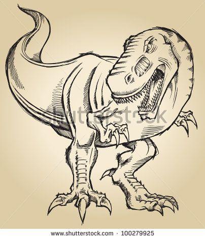 Sketch Doodle Tyrannosaurus Dinosaur T-Rex Vector Illustration Art