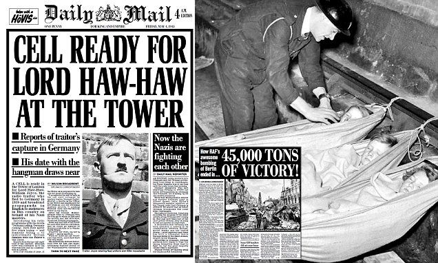 Daily Mail from 70 years ago reveals capture of traitor Lord Haw-Haw