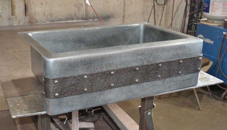 zinc farm front kitchen sink metal countertops zinc countertops modern kitchen countertops on kitchen zinc id=23822