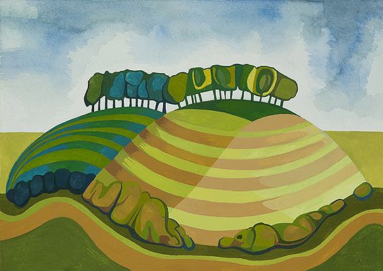 """Wittenham Clumps, Anna Dillon.  The Clumps, at the northeastern tip of the North Wessex Downs AONB are the oldest known planted hilltop beeches in England. Renowned English artist Paul Nash (1889-1946) wrote of the discovery of the Wittenham Clumps in 1911, calling it a """"beautiful English country"""" and returned to paint them many times during his life."""