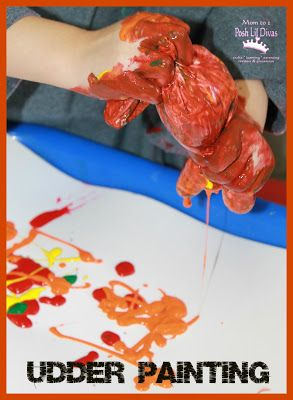Udder Painting with a glove - a fun, messy & sensory painting experience.