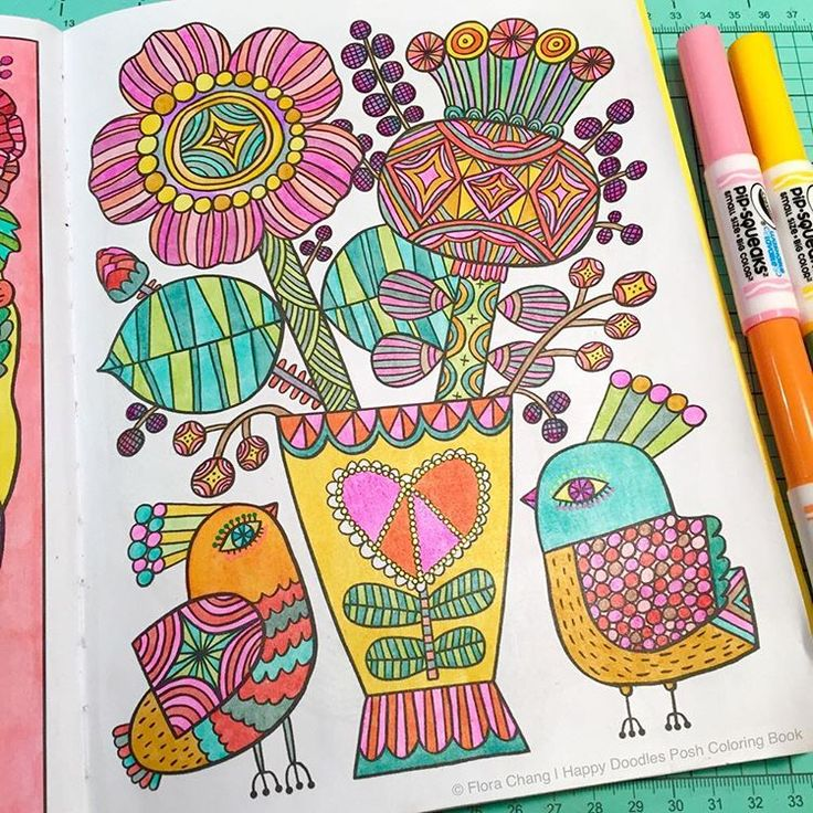 A Finished Page From Happy Doodles Posh Coloring By Flora Chang