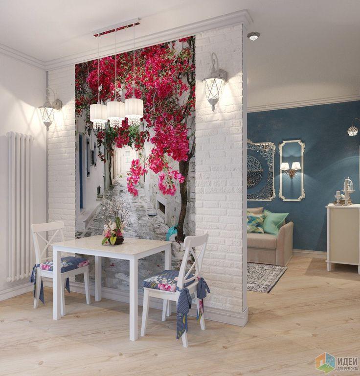 Маленькая студия, дизайн кухни-гостиной
