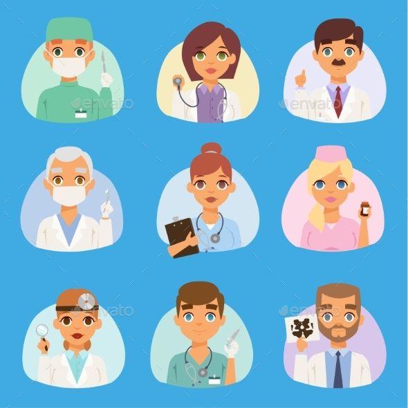 Doctors And Nurses Medical Staff Vector People Nurse Cartoon Character Design Nurse