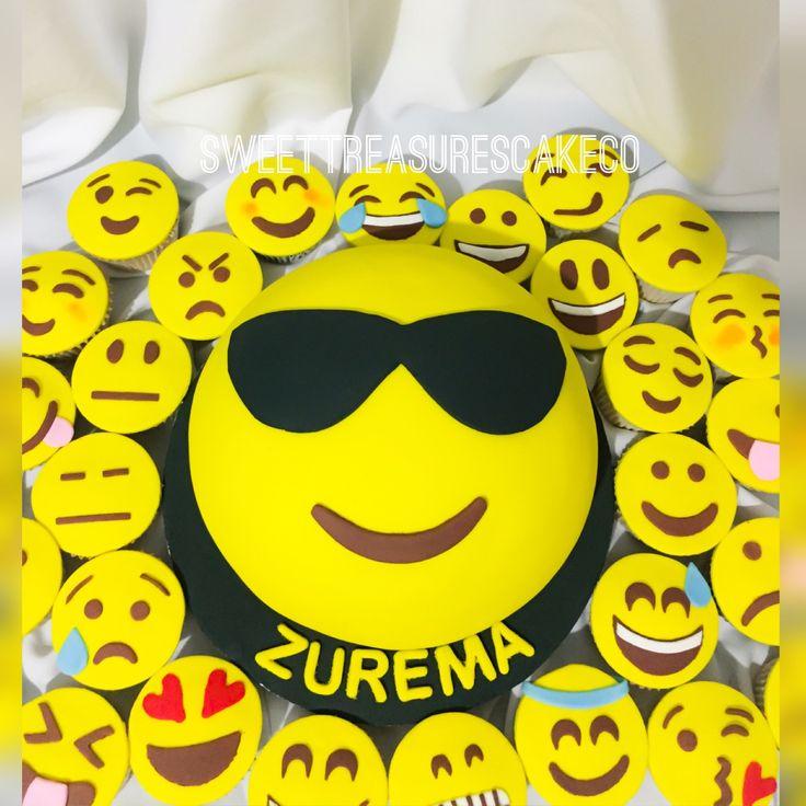 #celebrated #zurema's #birthday with this #emoji #cake and #cupcakes. #party #celebrations #customcakes #sweettreasurescakeco #sweettreasures #joburg #johannesburg
