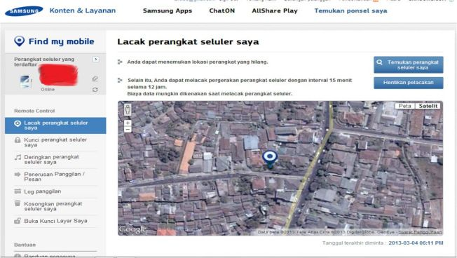 Samsung Dive. Menemukan lokasi & posisi HP Samsung Android Anda yang hilang/dicuri.