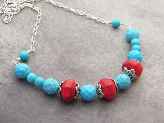Red and Turquoise Necklace. Red Turquoise by ColorfulJewelry4U