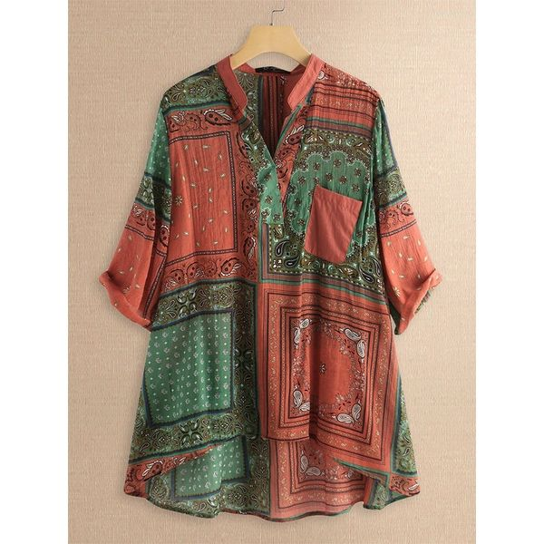US$ 19.99 - Bohemian Print V-neck Irregular Plus Size Shirt Blouse 9