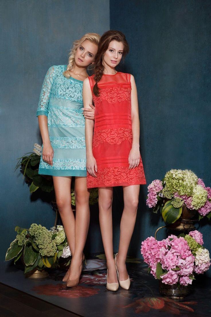 Платье A199/1 из кружева, отрезное под грудью, с длинным рукавом от дизайнера Алена Горецкая. В качестве отделки используются вставки из итальянской шелковой органзы.    Состав: 49% полиэстер, 31% хлопок, 20% ПА Цвет: коралловый, бирюзовый