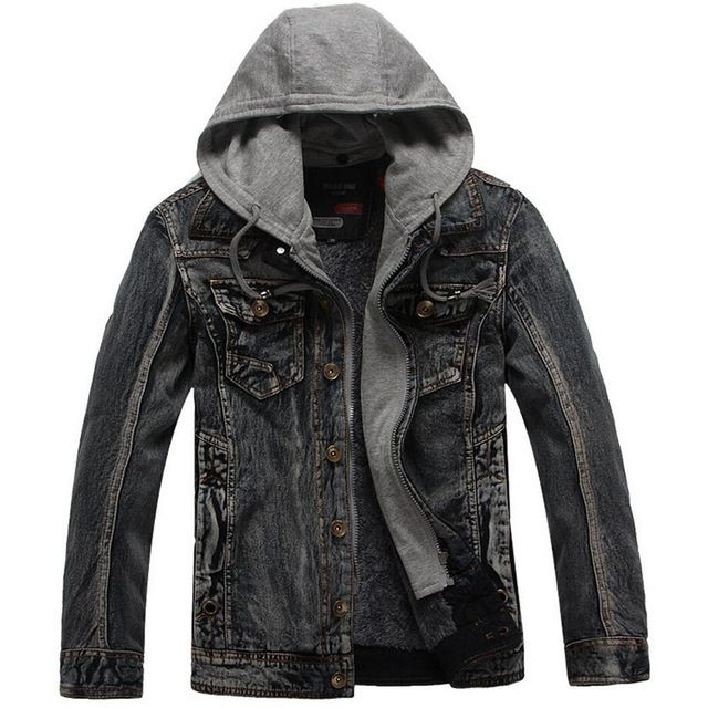 Hot Deals $41.99, Buy 2017 New Brand Winter Denim Jacket Men Fashion Thick Warm Detachable Hooded Men Vintage Parka Bomber Jeans Jacket Outwear Coat