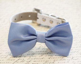 Azul perro pajarita, accesorio de la boda de novia Collar de perro azul. Alta calidad de cuero y tela, algunos azul de lo