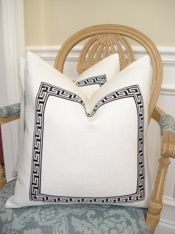 b/w greek key trimmed pillows