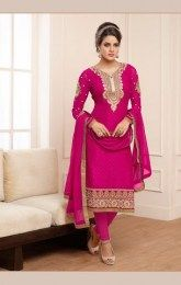 Pink Color Sizzling Salwar Kamiz With All New Embroidery Work On It