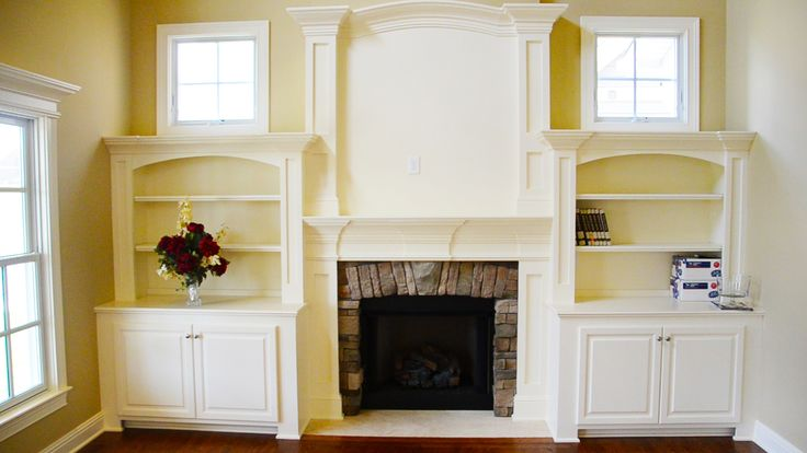 Built In Bookcases Two Story Fireplace Mantel Stone