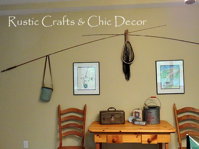 Rustic fishing pole art vintage fishing decorating ideas - Wall decoration ideas for bedrooms ...