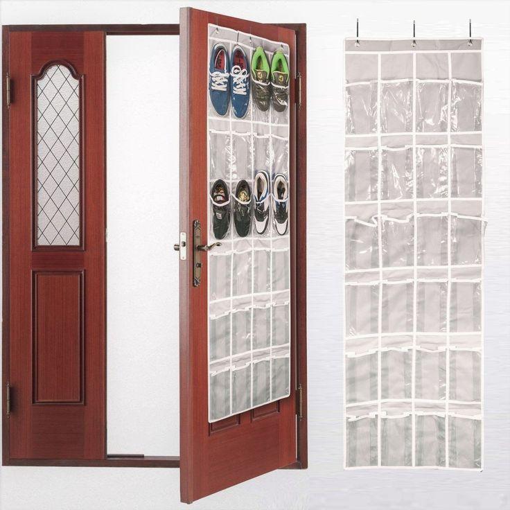 """Over The Door Shoe Organizer 24 Pockets Plastic Vinyl Reinforced Gray 19"""" x 64"""" #Unbranded #OverTheDoorShoeBag"""