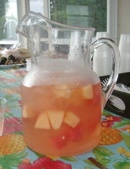 RI Summer Punch = melon bacardi & raspberry ginger-ale with a splash of peach schnapps and add cut up pieces of cantaloupe & watermelon