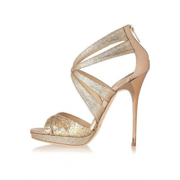 Wedding shoes gold heels, Sparkly