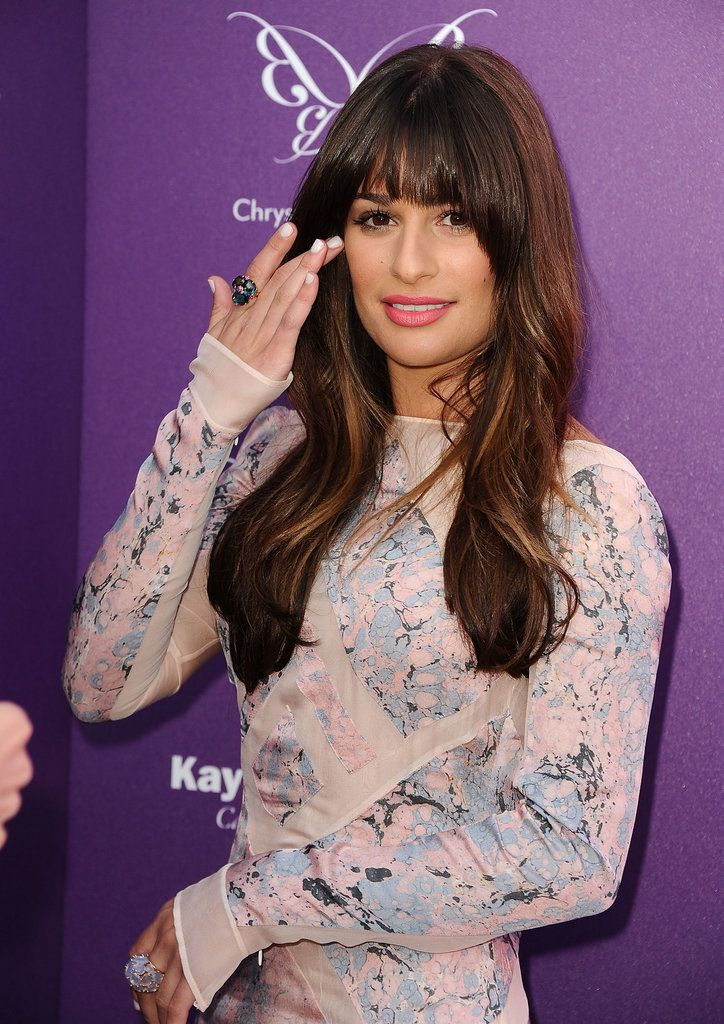Lea Michele's heavy bangs and highlights.