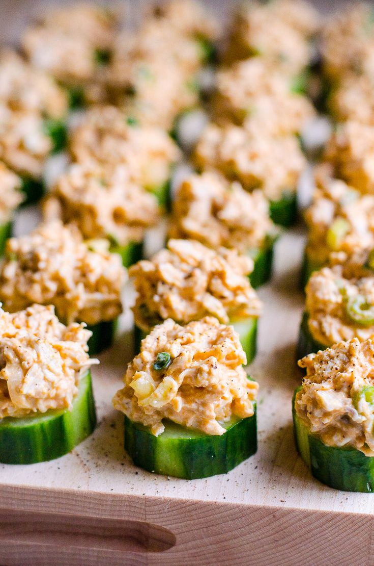 Cucumber Bites with Buffalo Chicken - If you don't know what to serve a crowd, make these easy cucumber bites appetizers where spicy creamy chicken meets crunchy juicy cucumber. Everyone will love, guaranteed!